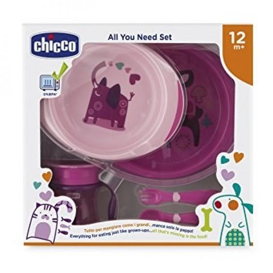 Ch.Ali16201100000 Chicco Conjunto Papa Menina Garfo + Faca + Copo + Prato 2 Unidade(s) 12M+