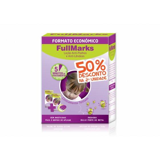 FullMarks Duo Loçăo Piolhos/Lęndeas 2 x 100 ml com Desconto de 50% da 2Ş Embalagem