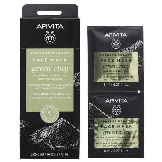 Apivita Express Beauty Máscara Limpeza Profunda de Argila Verde 2x8ml