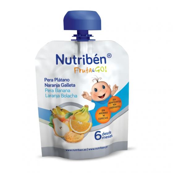 Nutribén Fruta&go! Pera, banana, laranja e bolacha 90g