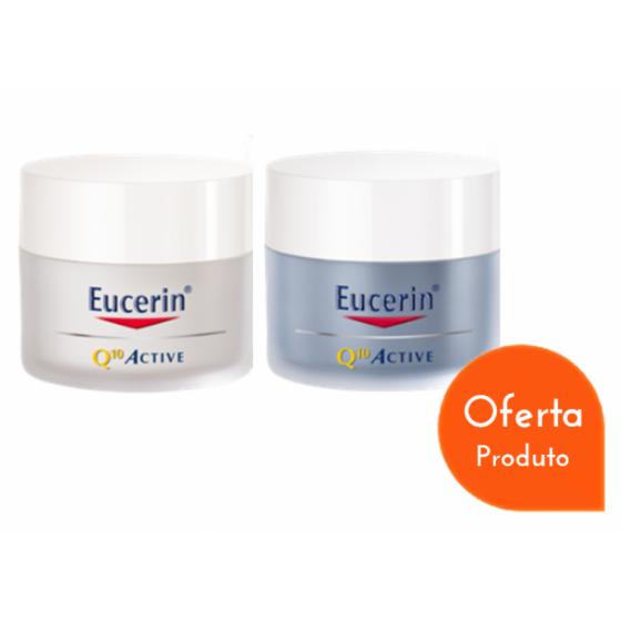 Eucerin Q10 Active Creme Noite 50 ml com Oferta de Creme Dia 50 ml Pele Seca
