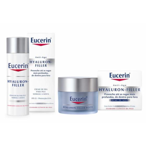 Eucerin Hyaluron-Filler Creme Noite Pele Normal e/a Mista 50 ml + Creme Dia 50 ml