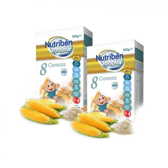 Nutribén Innova Duo Papa 8 cereais 2 x 300 g Pack com Desconto de 50% na 2Ş Embalagem