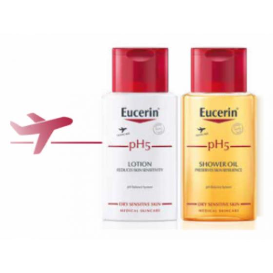 Eucerin pH5 Formatos Viagem Loçăo hidratante 100 ml + Óleo de duche 100 ml com Preço especial