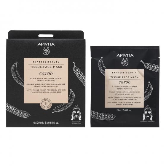 Apivita Express Beauty Máscara de Tecido Detox & Purificante Com Alfarroba 20ml