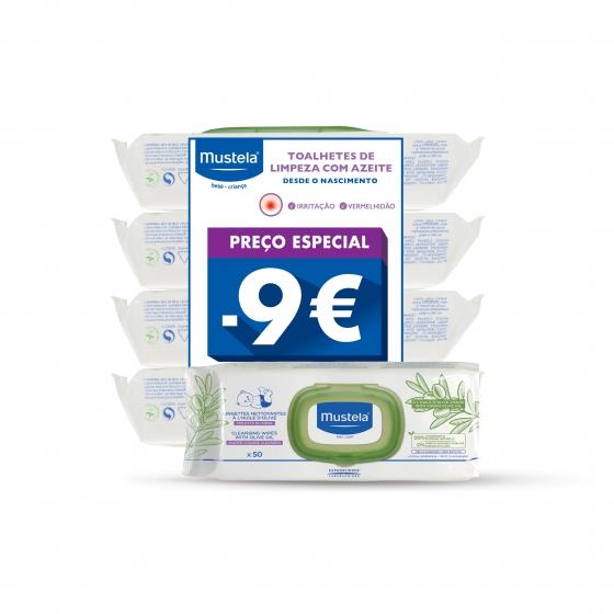 Mustela Bebé Toalhetes de limpeza com azeite 4 x 50 Unidade(s) com Preço especial