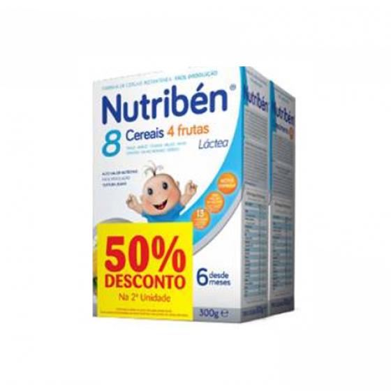 Nutribén Farinha láctea 8 cereais 4 frutas 300 g + Farinha crescimento láctea 300 g com Desconto de 50%