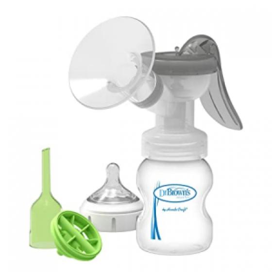 Dr BrownS Options Natural Flow Bomba manual de tirar leite materno + SoftShape Funil + Options+ Biberăo anti-cólicas 150 ml