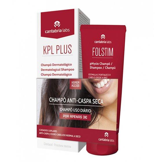 KPL Plus Champô dermatológico anticaspa 200 ml + Folstim pHysio Champô 200 ml pelo Preço Especial de 3€