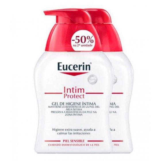 Eucerin Intim Protect Duo Gel higiene íntima pele sensível 2 x 250 ml com Desconto de 50% na 2Ş Embalagem