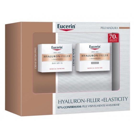 Eucerin Hyaluron-Filler + Elasticity Creme noite 50 ml + Creme dia SPF15 50 ml com Desconto 70% na 2Ş Embalagem