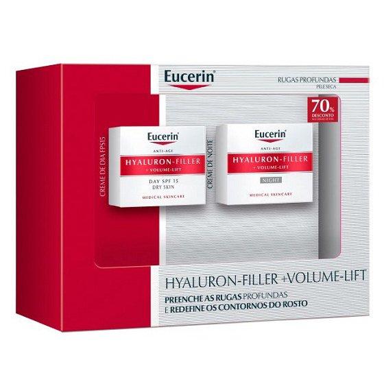 Eucerin Hyaluron-Filler Volume Lift Creme noite 50 ml + Creme dia para pele seca 50 ml com Desconto 70% na 2Ş Embalagem
