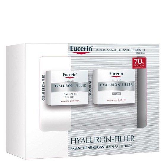 Eucerin Hyaluron-Filler Creme noite 50 ml + Creme dia para pele seca SPF15 50 ml com Desconto 70% na 2Ş Embalagem