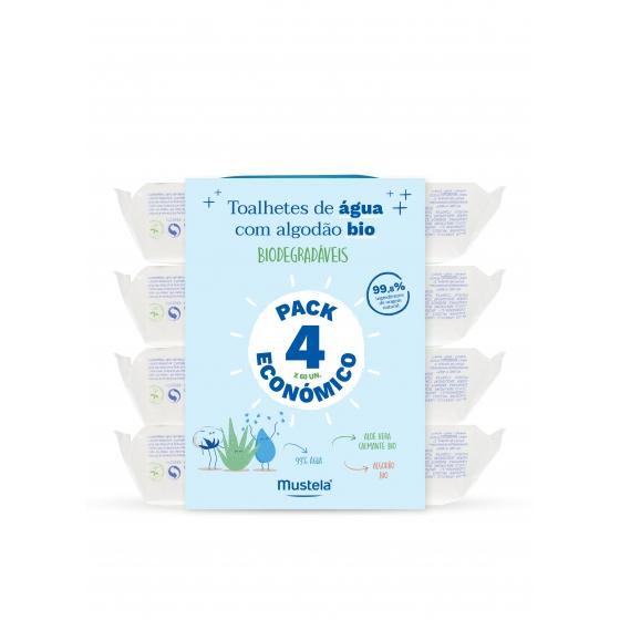 Mustela Bebé Toalhetes de água com algodăo bio 4 x 60 Unidade(s) Pack económico
