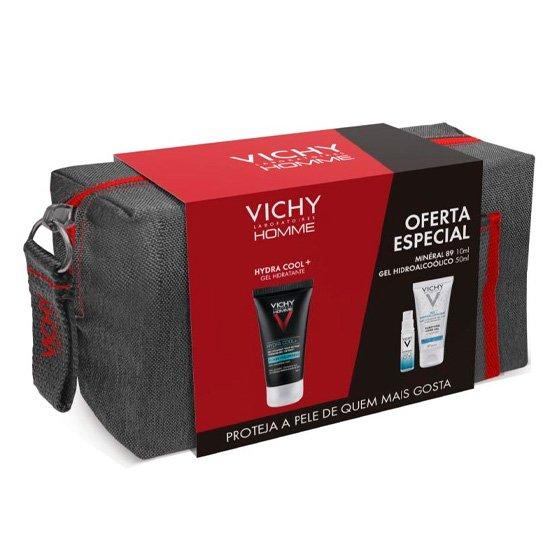 Vichy Homme Hydra Cool+ Gel hidratante 50 ml com Oferta Minéral 89 Concentrado fortificante preenchedor 10 ml + Gel hidroalcoólico 50 ml + Bolsa