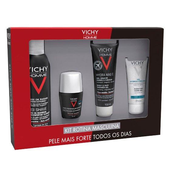 Vichy Homme Kit Rotina Masculina Sensi Shave Mousse 200 ml + Antitranspirante controlo extremo 72h 50 ml + Hydra Mag C Gel duche 100 ml + Gel hidroalcoólico 50 ml