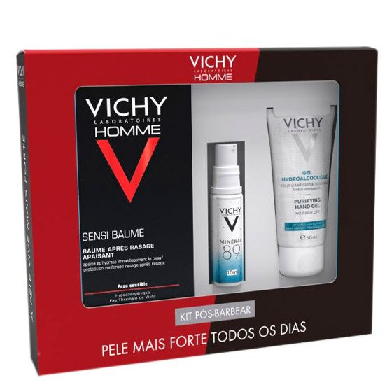 Vichy Homme Kit Pós-Barbear Sensi Baume Bálsamo 75 ml + Minéral 89 Concentrado fortificante preenchedor 10 ml + Gel hidroalcoólico 50 ml