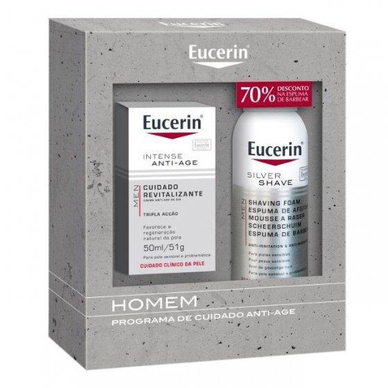 Eucerin Men Creme Hidratante 50 ml + Espuma de barbear 150 ml com Desconto de 70%