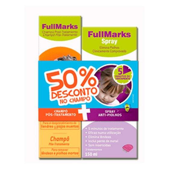 FullMarks Spray Piolhos/Lęndeas 150 ml + Champô Pós tratamento 150 ml com Desconto de 50%