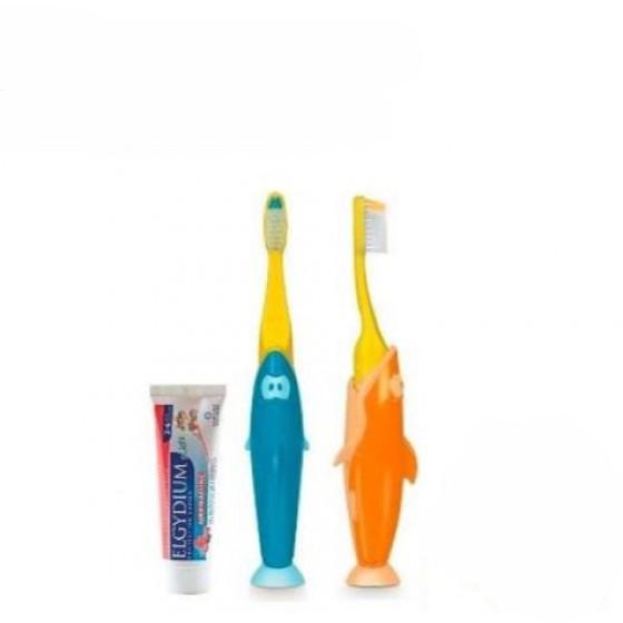 Elgydium Kids Kit Viagem escova dentífrica Infantil Shark + Gel dentífrico Frutos Silvestres